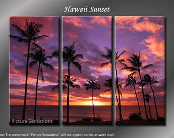 Framed Huge 3 Panel Modern Ocean Palm Hawaii Sunset Giclee Canvas Print - Ready to Hang
