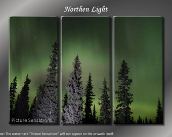 Framed Huge 3 Panel Art Tranquility Northen Light Giclee Canvas Print - Ready to Hang