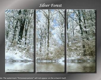 Framed Huge 3 Panel Winter Landscape Silver Forest Giclee Canvas Print - Ready to Hang