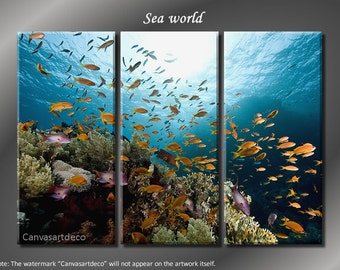 Framed Huge 3 Panel Modern Art Underwater Ocean Sea World Giclee Canvas Print - Ready to Hang