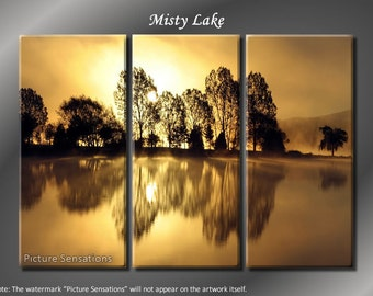 Framed Huge 3 Panel Modern Art Misty Sunset Lake Giclee Canvas Print - Ready to Hang