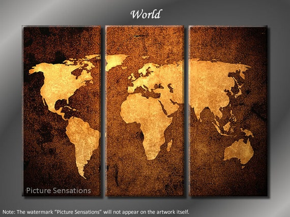 Framed Huge 3 Panel World Map Giclee Canvas By Modernwalldeco