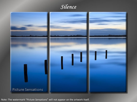 Framed Huge 3 Panel Modern Art Misty Lake Silence Giclee Canvas Print - Ready to Hang