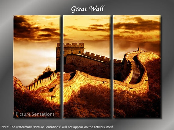 Framed Huge 3 Panel Modern Art China Great Wall Giclee Canvas Print - Ready to Hang