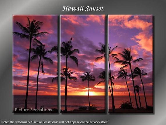 Framed Huge 3 Panel Modern Ocean Palm Hawaii Sunset Giclee Canvas Print - Ready to Hang