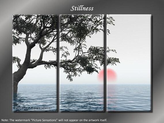 Framed Huge 3 Panel Modern Art Calm Ocean Stillness Giclee Canvas Print - Ready to Hang
