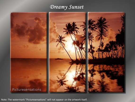 Framed Huge 3 Panel Modern Ocean Palm Dreamy Sunset Giclee Canvas Print - Ready to Hang