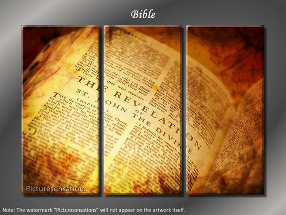 Framed Huge 3 Panel Modern Religious Art Bible Giclee Canvas Print - Ready to Hang