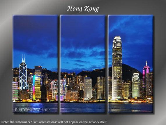 Framed Huge 3 Panel Modern Art Skyline Hong Kong Giclee Canvas Print - Ready to Hang