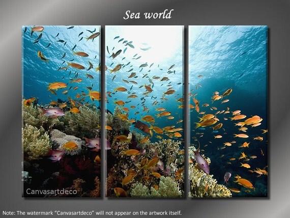 Framed Huge 3 Panel Modern Art Underwater Ocean Sea World Giclee Canvas Print - Ready to Hang