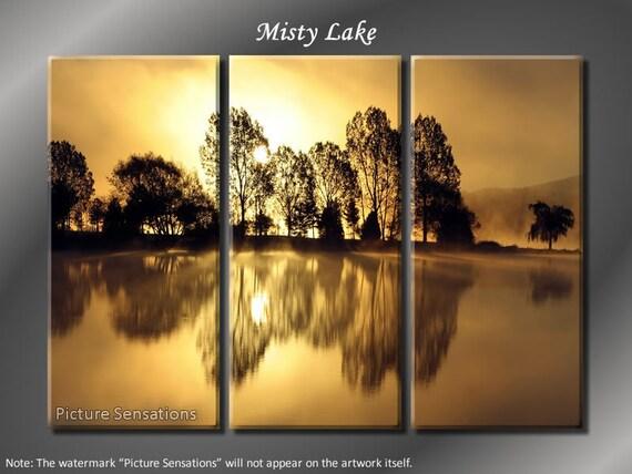 Framed Huge 3 Panel Modern Art Misty Sunset Lake Giclee Canvas Print - Ready to Hang