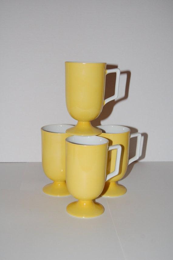 Four Retro Yellow Coffee Mugs