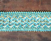 Metallic Ribbon Woven turquoise and Gold yard trim