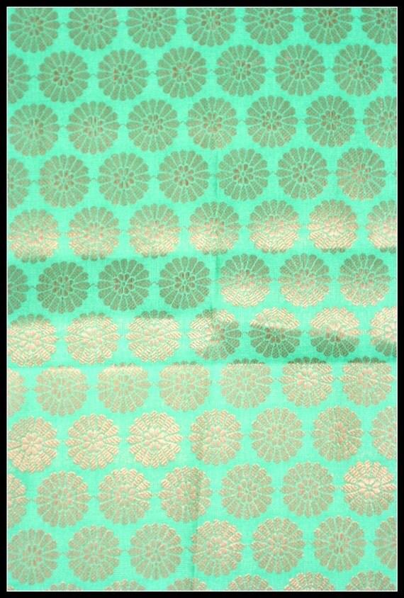 Silk Brocade Fabric Fat Quarter Green Gold with flower motif