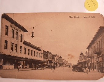 Antique Scenic Street Postcard of  Main Street Merced California Black and White