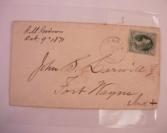 Postal History Paris USA October 9 1871 1st day cover