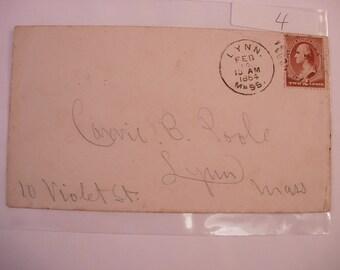 Postal History 1st day Cover 1884 from Lynn Massachusetts