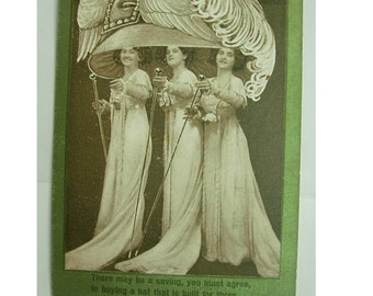 Antique 1909 Advertising Postcard Victorian Hat Jumbo Lids