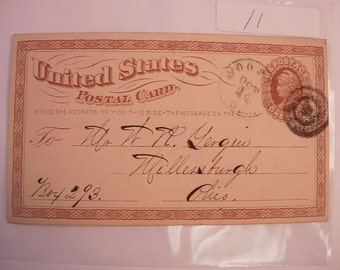 US Postal Card has Miltary Bullseye Stamp Postal Box 293 BIzarre story on back