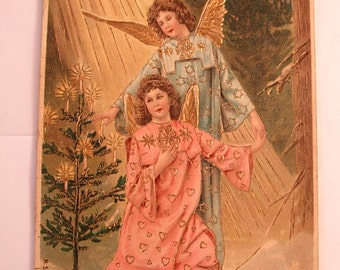 Antique Picture Postcard of Two Victorian Angels Frohliche Wiehnachten foil CHristmas postcard