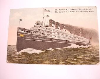 Vintage Victorian Antique Postcard of the City of Detroit Side Wheel Steamer