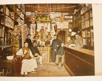 Vintage RPPC Real Photo Chinese Dry Goods Store Postcard with Shop Owner and Customers