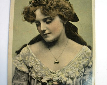 Vintage RPPC Real Photo Handcolored Postcard of Miss Maie Ash English Eduardian Actress with Pendant Dtd 1905