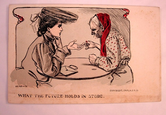 Antique Gypsy fortune teller  What the Future Holds in Store 1905 ASP Co Postcard