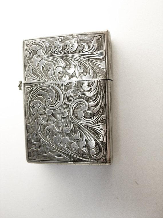 Vintage Sterling Silver Chased Zippo Lighter