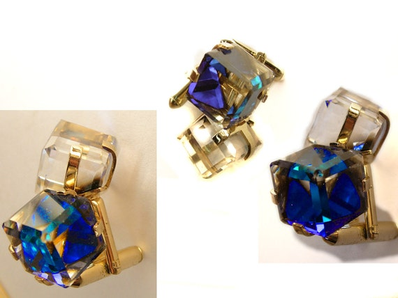 Vintage Swarovski Prism Cufflinks with Color Changing Stones