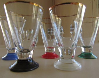 5 Shot Glasses Tapered Parti-Coloured Mid-Century Barware