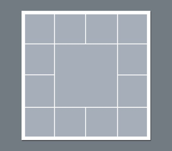 INSTANT DOWNLOAD - Storyboard, Photographers Template, Photoshop Template, Photo Collage - 12 x 12 - No.4