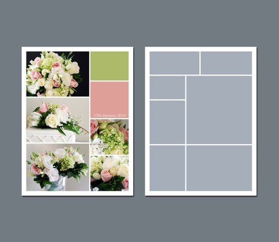 INSTANT DOWNLOAD - Photo Collage Template, Digital Template, Storyboard Template - 6 x 8 - Template Pack - No.2