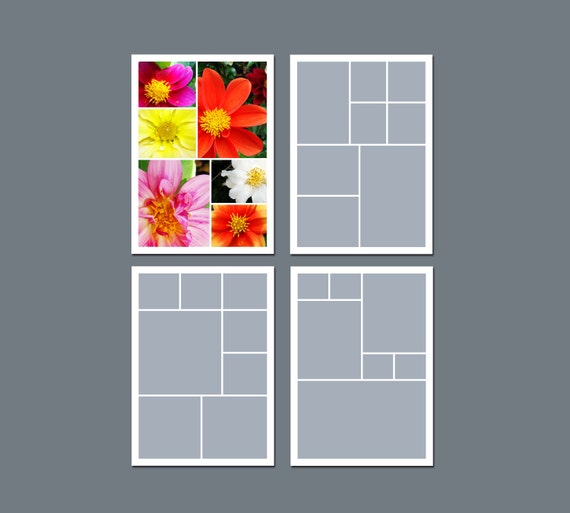 INSTANT DOWNLOAD - Photo Collage Template, Digital Template - 5 x 7 - Template Pack - No.2