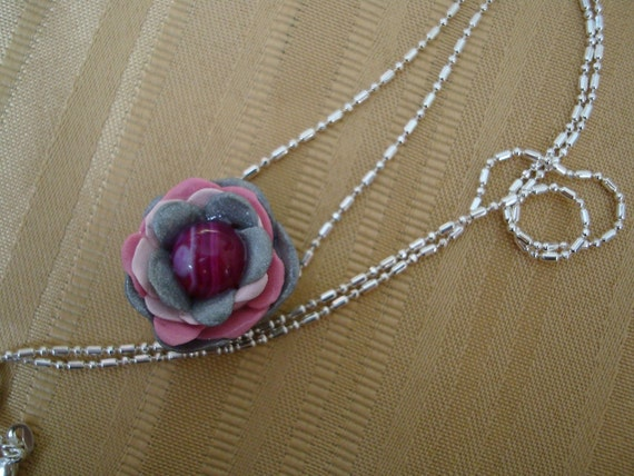 Silver pink flower rose necklace
