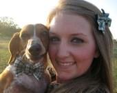 Green plaid dog bow tie