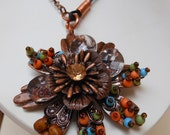 Copper Gypsy Pendant, Necklace,Leather Cord, Bohemian Necklace