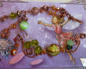 Lime Green and Copper Charm Bracelet,Copper Bracelet,Wirework Beaded Bracelet,Fairy Queen,Bridal Jewelry,Bohemian,Gypsy,Gift for Her,Artisan