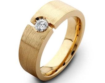 Mens 14kt diamond wedding band 0.30 ctw G-VS2 quality