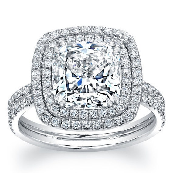 Ladies 14kt white gold double halo engagement ring with 2.00ct  Cushion shape white sapphire and 0.75 ctw diamonds