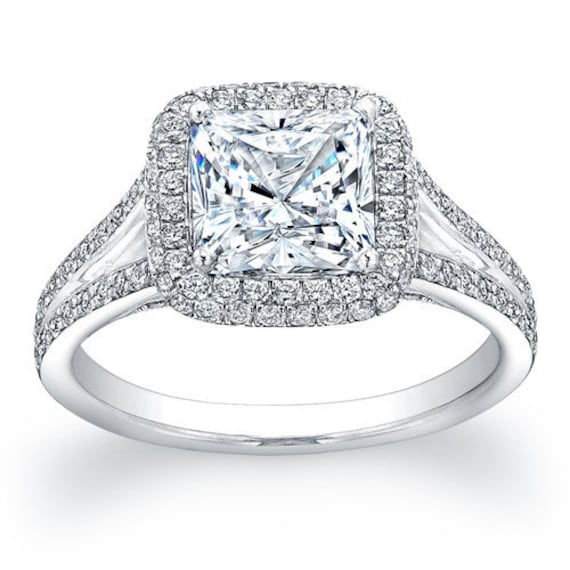 Ladies 14kt pave diamond halo engagement ring with a natural 2ct Cushion Shape white sapphire with 0.45 ctw G-VS2 diamonds