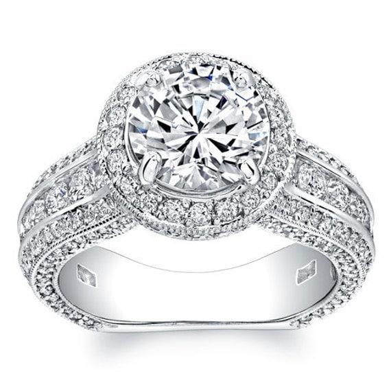 La s platinum antique pave engagement ring with 1 60 ct