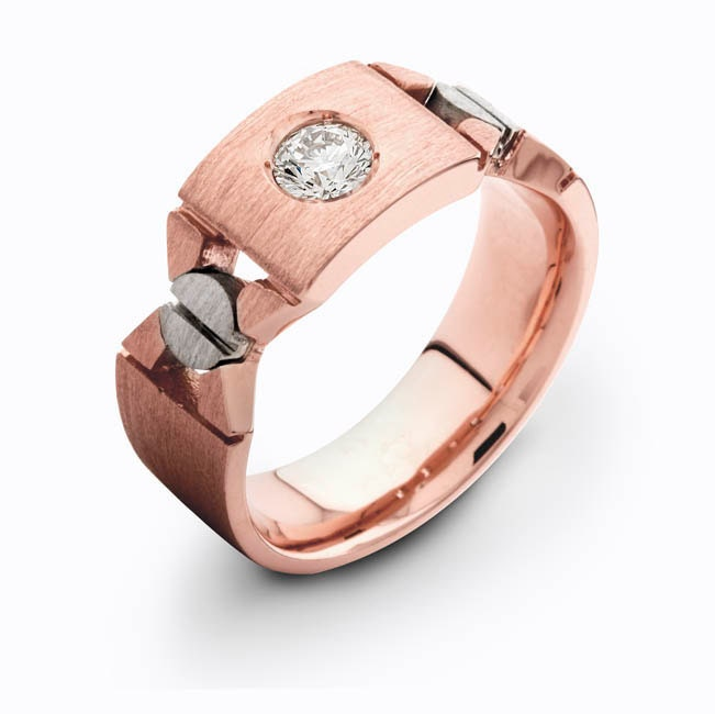 Mens 14kt Rose Gold Diamond Wedding Band 030 Ctw G VS2