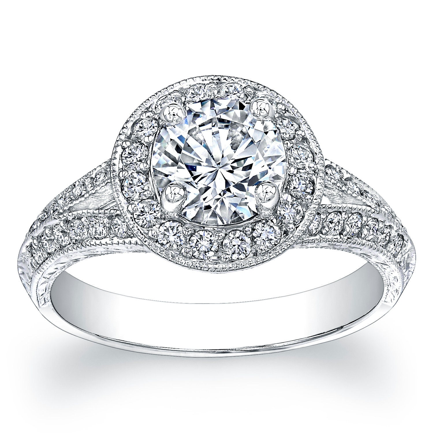 Platinum Split Band Halo Engagement Ring With 160 Ct Round