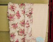 Floral ruffle receiving blanket