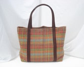 Large Plaid Heavy Woven Cotton Tote Bag