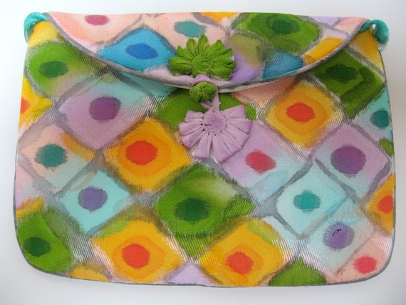 Small purse silk accessory pouch hand painted, unique gift woman mom under 50, artisan handmade NY Hudson Valley, green pink blue