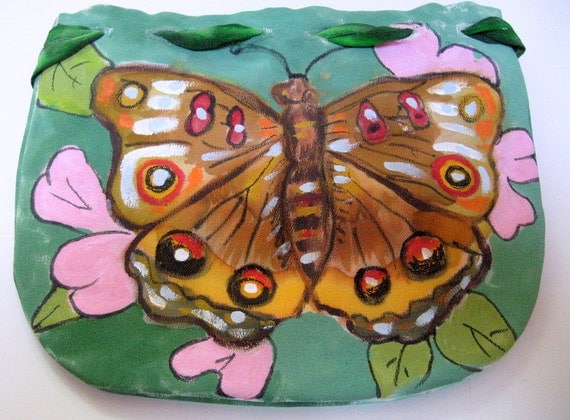 Butterfly silk purse accessory artisan Handpainted, one of a kind Handmade in the USA, unique gift woman, Silkworth Hudson Valley NY