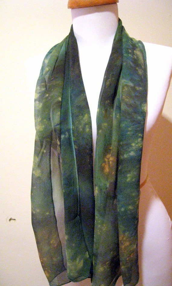 Silk Scarf- Handpainted Chiffon- Green Multi
