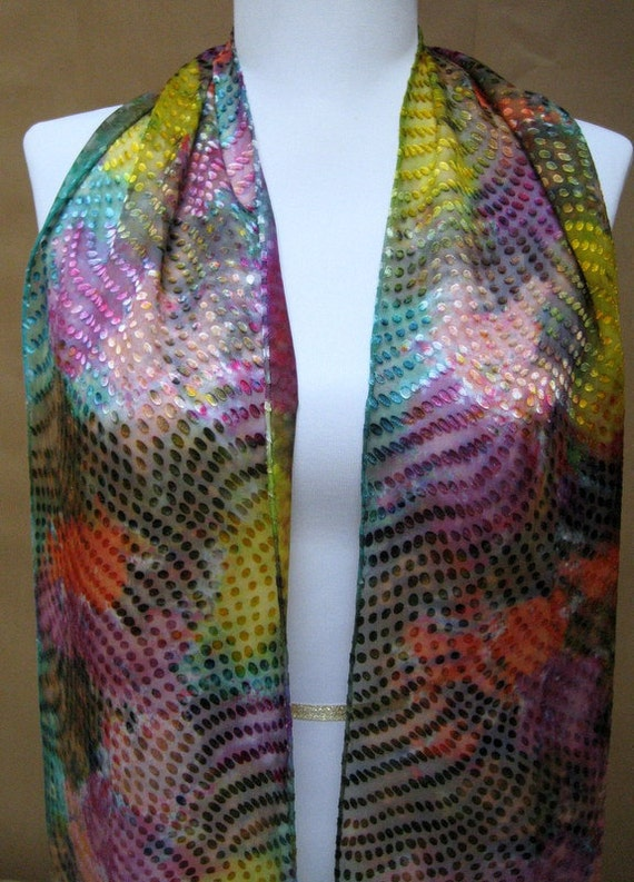 Hand-painted Silk Scarf- devore embossed multicolor abstract Handmade in the USA